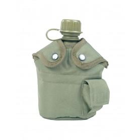 US Feldflasche Kunststoff mit Becher und Hülle oliv