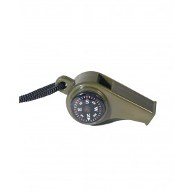 Signalpfeife Kunststoff oliv mit Kompass und Thermometer