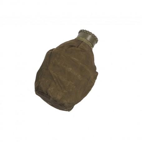 Öster. Feldflasche Alu mit oliv Hülle, gebr.