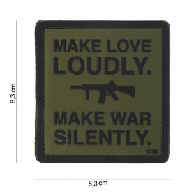 Patch 3D PVC Make love loudly green