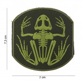 Patch 3D PVC Frog skeleton green