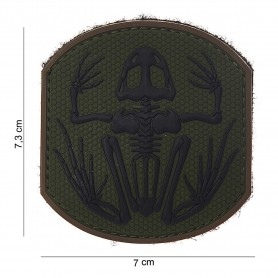 Patch 3D PVC Frog skeleton darkgreen