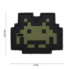 Patch 3D PVC Space invader green/black