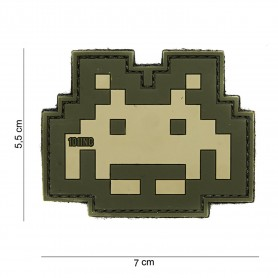 Patch 3D PVC Space invader sand/green