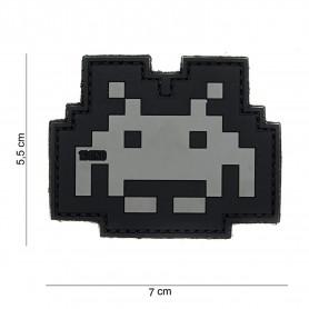 Patch 3D PVC Space invader grey/black