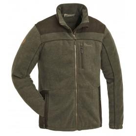 Pinewood® Prestwick Exklusiv Fleece Jacke Oliv Melange/Wildlederbraun
