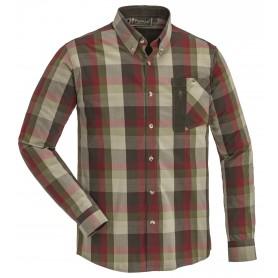 Pinewood® Himalaya Stretch Hemd Wildlederbraun/Burgund