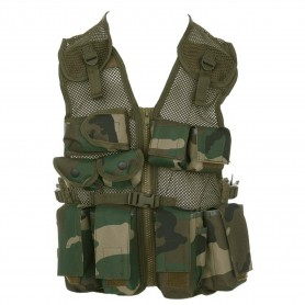Kids tactical vest woodland