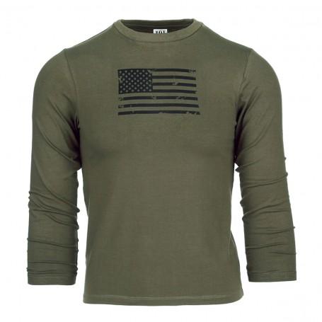 Kids T-Shirt USA long sleeve oliv