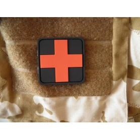 3D Rubber Patch Medic schwarz-rot
